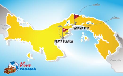 Viajes a Panama | Mapa Playa Blanca